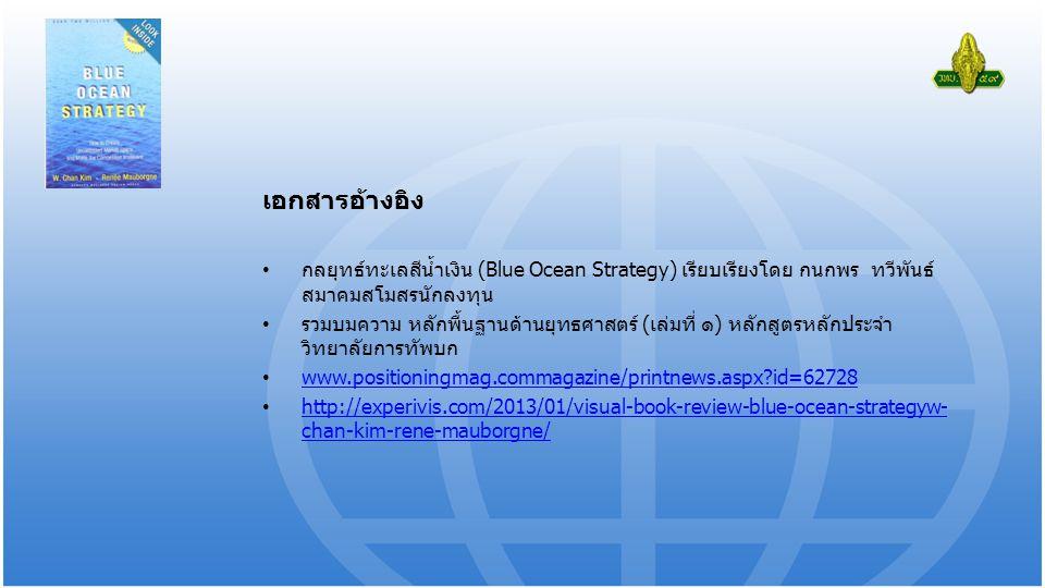 เอกสารอ้างอิง กลยุทธ์ทะเลสีน้ำเงิน (Blue Ocean Strategy) เรียบเรียงโดย กนกพร ทวีพันธ์ สมาคมสโมสรนักลงทุน รวมบมความ หลักพื้นฐานด้านยุทธศาสตร์ (เล่มที่ ๑) หลักสูตรหลักประจำ วิทยาลัยการทัพบก www.positioningmag.commagazine/printnews.aspx id=62728 http://experivis.com/2013/01/visual-book-review-blue-ocean-strategyw- chan-kim-rene-mauborgne/ http://experivis.com/2013/01/visual-book-review-blue-ocean-strategyw- chan-kim-rene-mauborgne/