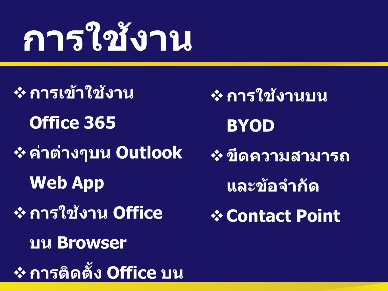 การใช้งาน  การเข้าใช้งาน Office 365  ค่าต่างๆบน Outlook Web App  การใช้งาน Office บน Browser  การติดตั้ง Office บน เครื่อง  การใช้งานบน BYOD  ขี