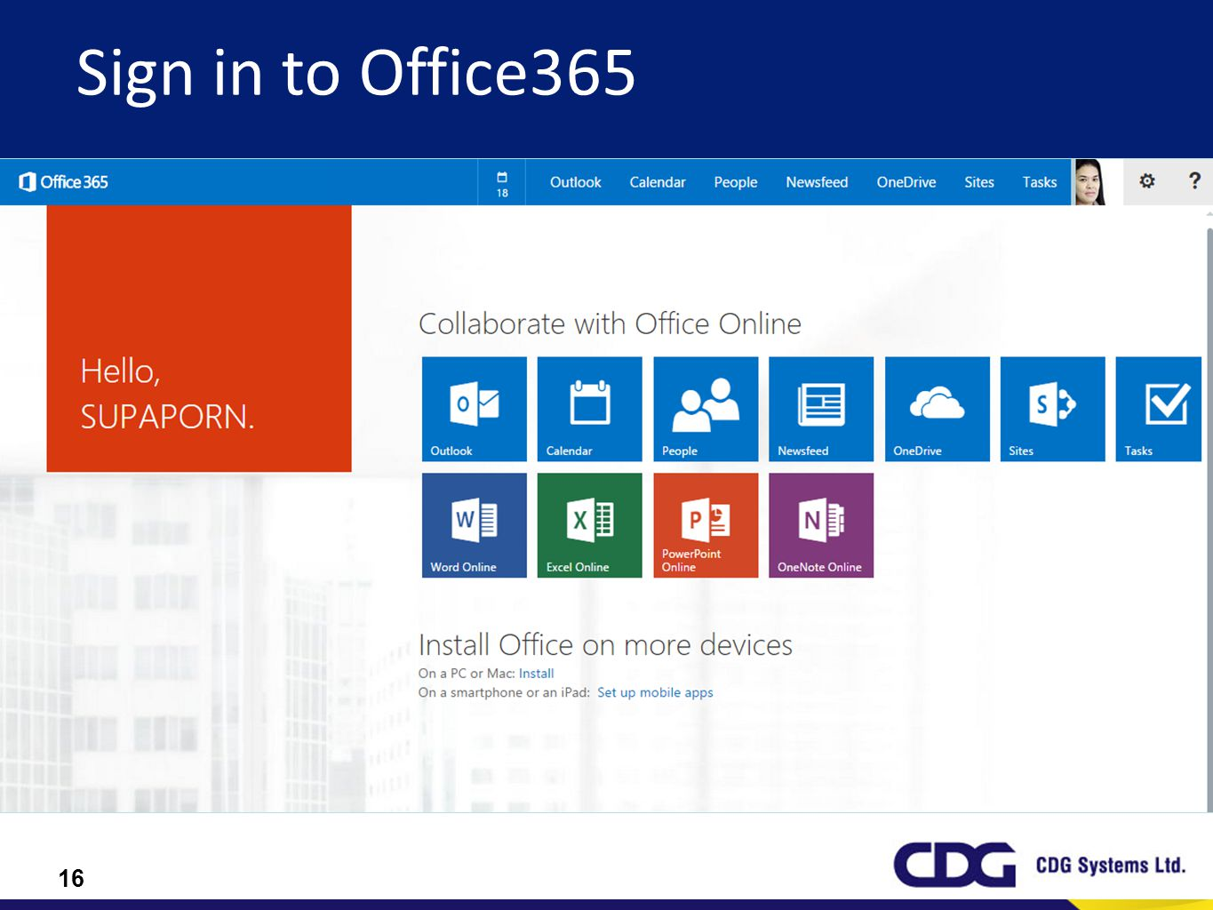 16 Sign in to Office365