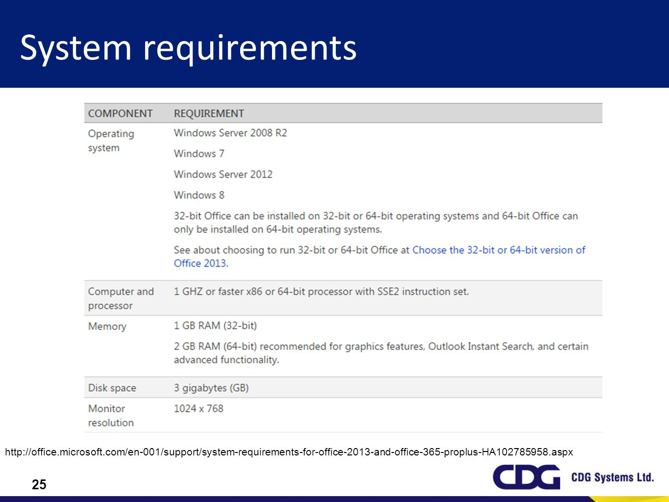 25 System requirements http://office.microsoft.com/en-001/support/system-requirements-for-office-2013-and-office-365-proplus-HA102785958.aspx