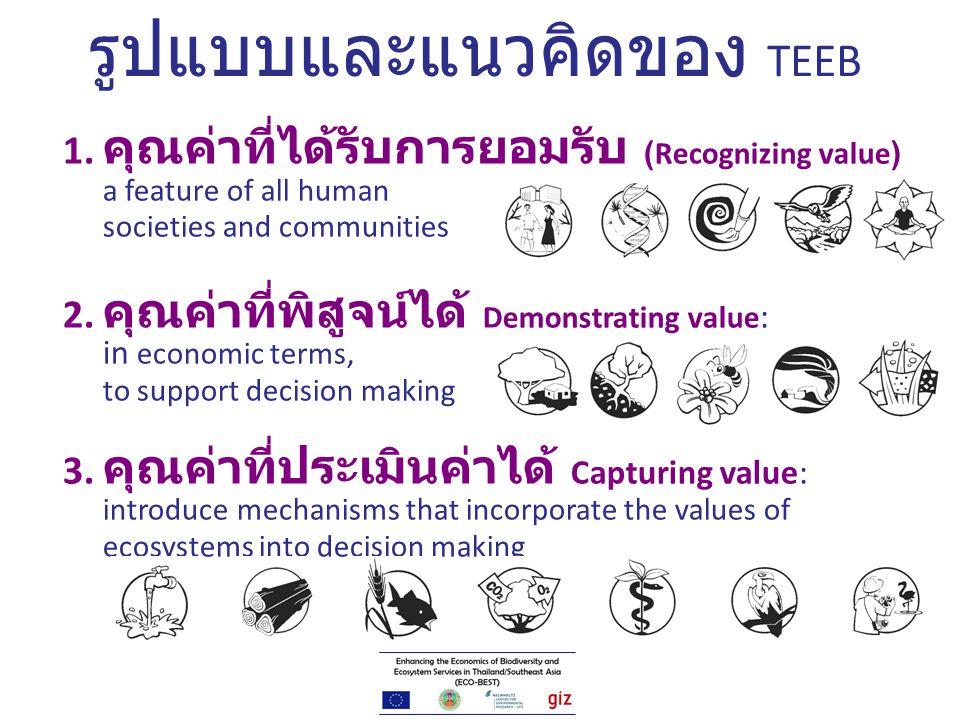 รูปแบบและแนวคิดของ TEEB 1. คุณค่าที่ได้รับการยอมรับ (Recognizing value) a feature of all human societies and communities 2. คุณค่าที่พิสูจน์ได้ Demons