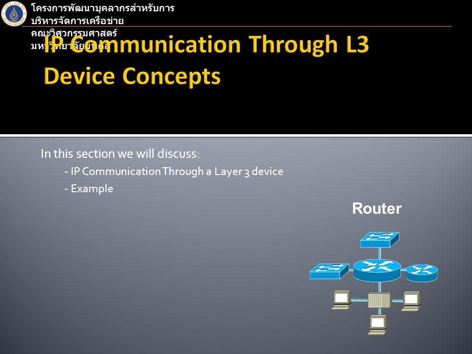 โครงการพัฒนาบุคลากรสำหรับการ บริหารจัดการเครือข่าย คณะวิศวกรรมศาสตร์ มหาวิทยาลัยมหิดล In this section we will discuss: - IP Communication Through a Layer 3 device - Example Router