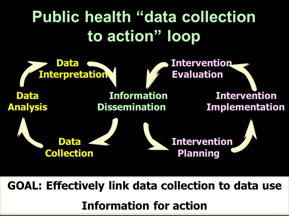 Data Intervention Interpretation Evaluation Data Information Intervention Analysis Dissemination Implementation Data Intervention Collection Planning Public health data collection to action loop GOAL: Effectively link data collection to data use Information for action GOAL: Effectively link data collection to data use Information for action