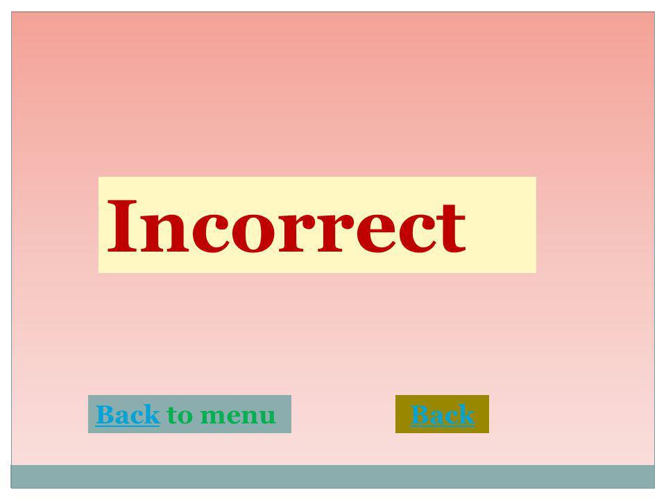 Incorrect BackBack to menuBack