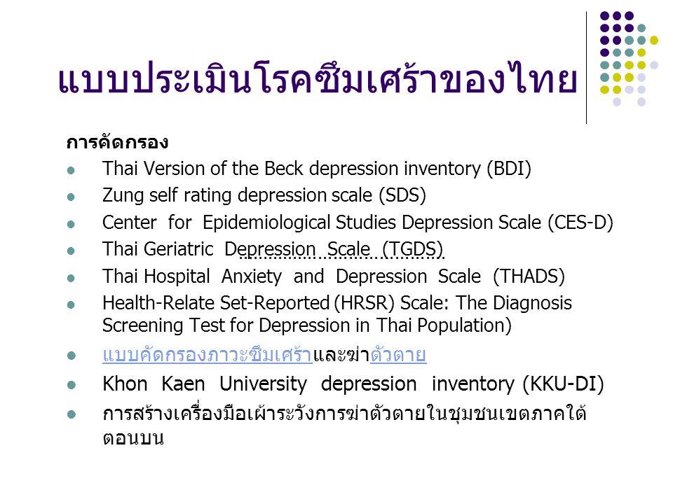 แบบประเมินโรคซึมเศร้าของไทย การคัดกรอง Thai Version of the Beck depression inventory (BDI) Zung self rating depression scale (SDS) Center for Epidemiological Studies Depression Scale (CES-D) Thai Geriatric Depression Scale (TGDS) Thai Hospital Anxiety and Depression Scale (THADS) Health-Relate Set-Reported (HRSR) Scale: The Diagnosis Screening Test for Depression in Thai Population) แบบคัดกรองภาวะซึมเศร้าและฆ่าตัวตาย แบบคัดกรองภาวะซึมเศร้าตัวตาย Khon Kaen University depression inventory (KKU-DI) การสร้างเครื่องมือเผ้าระวังการฆ่าตัวตายในชุมชนเขตภาคใต้ ตอนบน.........................................
