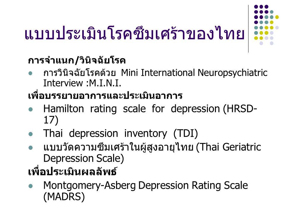 แบบประเมินโรคซึมเศร้าของไทย การจำแนก/วินิจฉัยโรค การวินิจฉัยโรคด้วย Mini International Neuropsychiatric Interview :M.I.N.I.