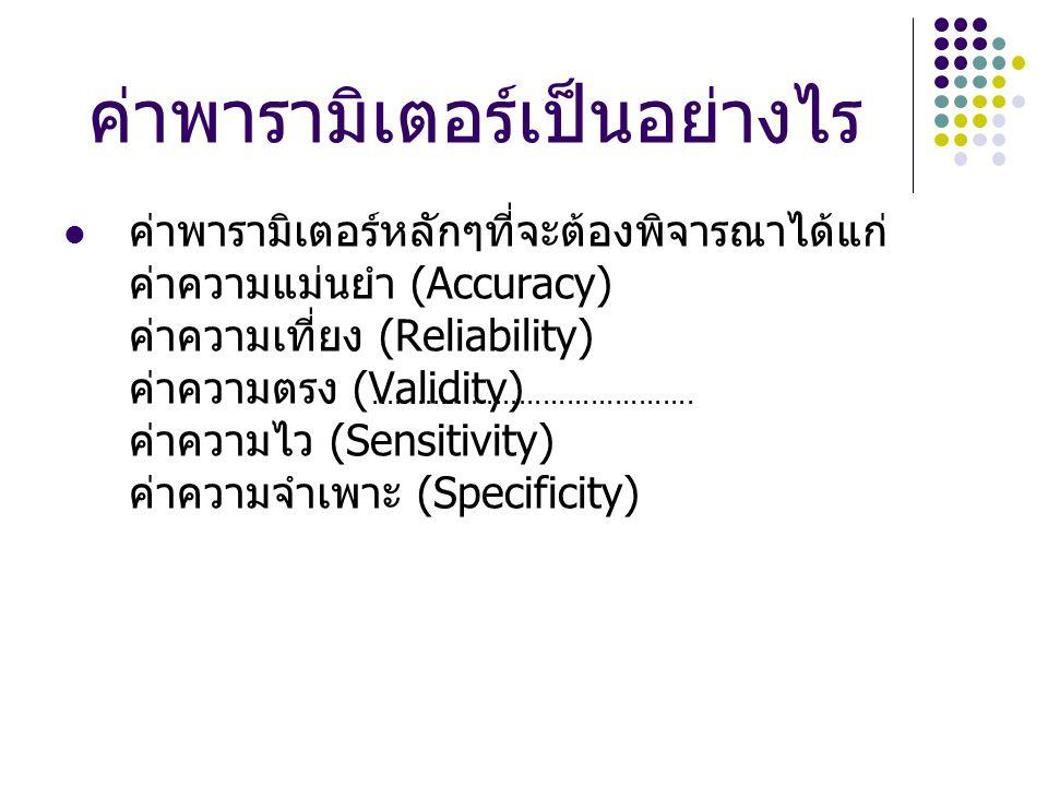 ค่าพารามิเตอร์เป็นอย่างไร ค่าพารามิเตอร์หลักๆที่จะต้องพิจารณาได้แก่ ค่าความแม่นยำ (Accuracy) ค่าความเที่ยง (Reliability) ค่าความตรง (Validity) ค่าความไว (Sensitivity) ค่าความจำเพาะ (Specificity).........................................