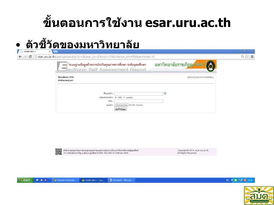 ขั้นตอนการใช้งาน esar.uru.ac.th ตัวชี้วัดของมหาวิทยาลัย