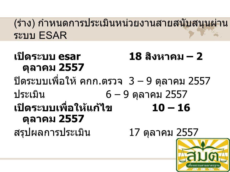 ( ร่าง ) กำหนดการประเมินหน่วยงานสายสนับสนุนผ่าน ระบบ ESAR เปิดระบบ esar18 สิงหาคม – 2 ตุลาคม 2557 ปิดระบบเพื่อให้ คกก.
