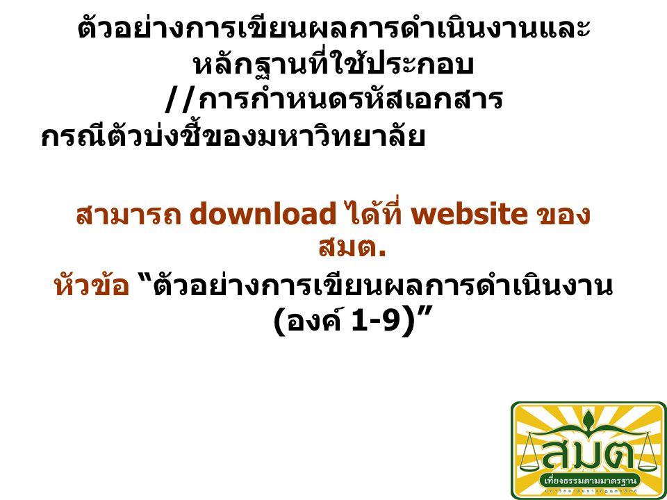 ตัวอย่างการเขียนผลการดำเนินงานและ หลักฐานที่ใช้ประกอบ // การกำหนดรหัสเอกสาร กรณีตัวบ่งชี้ของมหาวิทยาลัย สามารถ download ได้ที่ website ของ สมต.