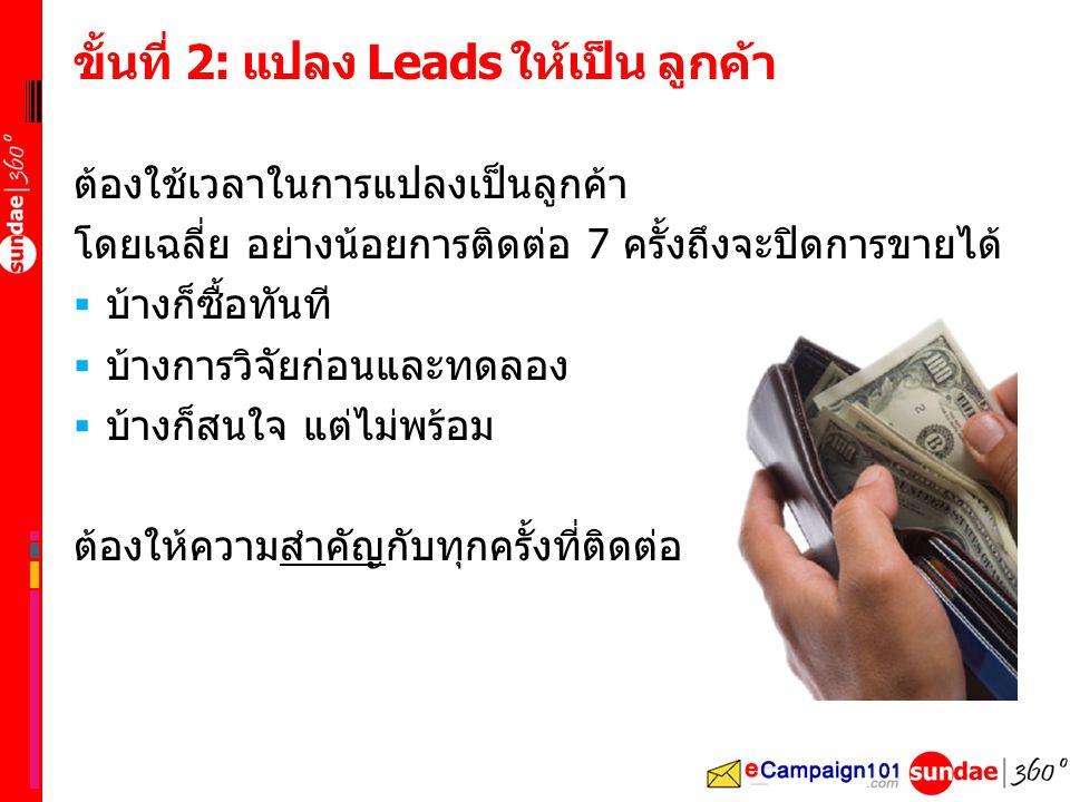 ขั้นที่ 2: แปลง Leads ให้เป็น ลูกค้า ต้องใช้เวลาในการแปลงเป็นลูกค้า โดยเฉลี่ย อย่างน้อยการติดต่อ 7 ครั้งถึงจะปิดการขายได้  บ้างก็ซื้อทันที  บ้างการวิจัยก่อนและทดลอง  บ้างก็สนใจ แต่ไม่พร้อม ต้องให้ความสำคัญกับทุกครั้งที่ติดต่อ