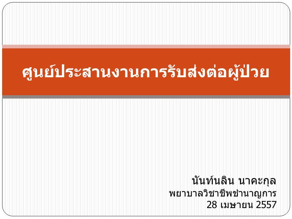 ศูนย์ประสานงานการรับส่งต่อผู้ป่วย นันท์นลิน นาคะกุล พยาบาลวิชาชีพชำนาญการ 28 เมษายน 2557