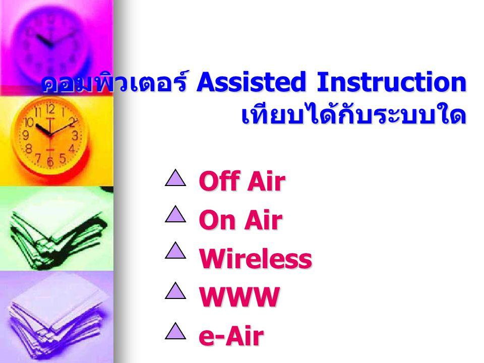 Wive File ในระบบ Online เทียบได้ กับระบบใด Off Air On Air WirelessWWWe-Air