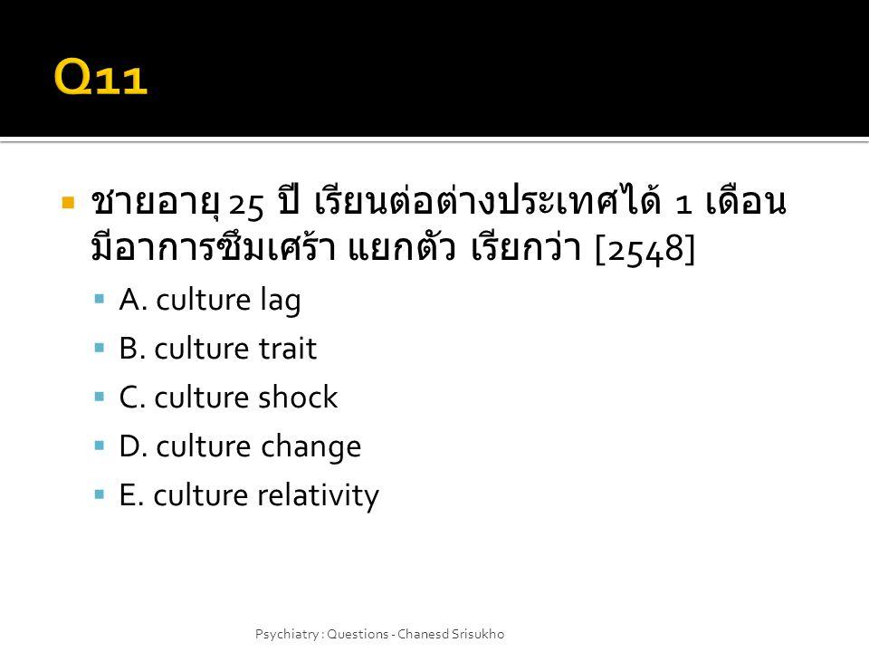  ชายอายุ 25 ปี เรียนต่อต่างประเทศได้ 1 เดือน มีอาการซึมเศร้า แยกตัว เรียกว่า [2548]  A. culture lag  B. culture trait  C. culture shock  D. cultu