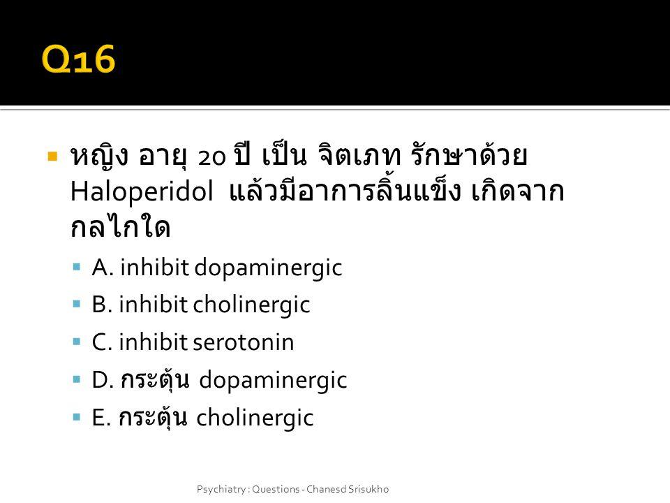  หญิง อายุ 20 ปี เป็น จิตเภท รักษาด้วย Haloperidol แล้วมีอาการลิ้นแข็ง เกิดจาก กลไกใด  A. inhibit dopaminergic  B. inhibit cholinergic  C. inhibit