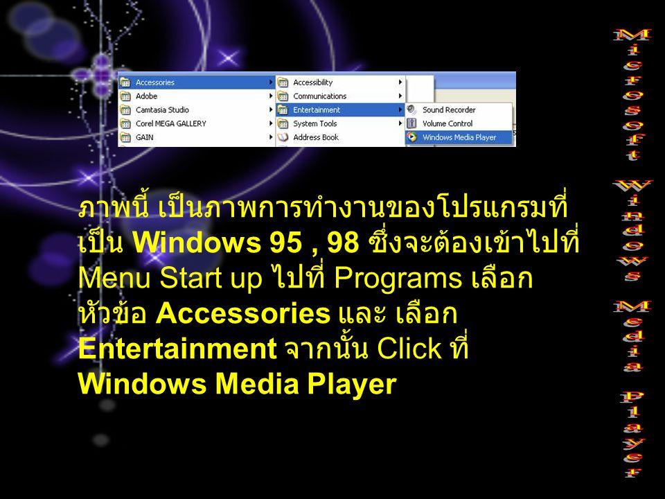 ภาพนี้ เป็นภาพการทำงานของโปรแกรมที่ เป็น Windows 95, 98 ซึ่งจะต้องเข้าไปที่ Menu Start up ไปที่ Programs เลือก หัวข้อ Accessories และ เลือก Entertainm