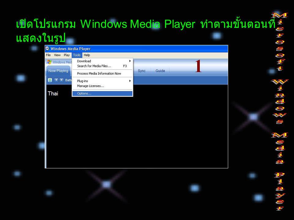เปิดโปรแกรม Windows Media Player ทำตามขั้นตอนที่ แสดงในรูป