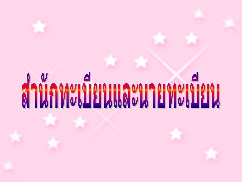 ประเภทของสำนักทะเบียน (1) สำนักทะเบียนกลาง (2) สำนักทะเบียน กรุงเทพมหานคร (3) สำนักทะเบียน จังหวัด (4) สำนักทะเบียน อำเภอ (5) สำนักทะเบียน ท้องถิ่น (6) สำนักทะเบียนสาขา