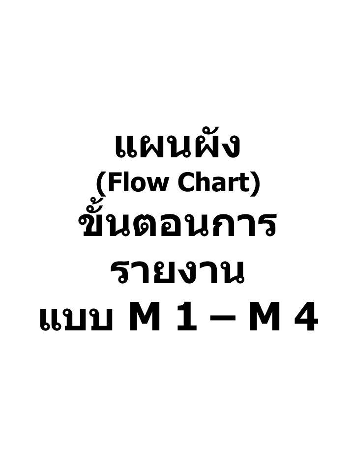 แผนผัง (Flow Chart) ขั้นตอนการ รายงาน แบบ M 1 – M 4