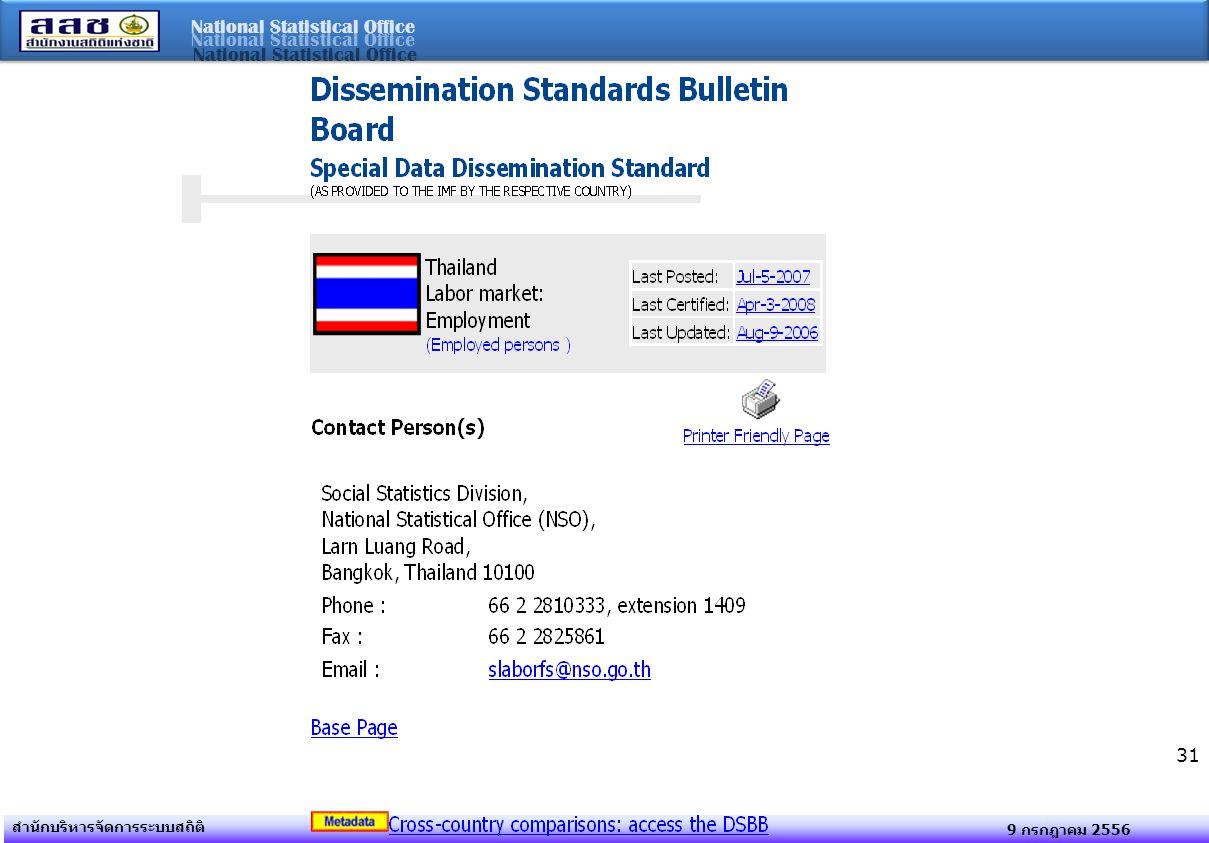 National Statistical Office 9 กรกฎาคม 2556 สำนักบริหารจัดการระบบสถิติ 31