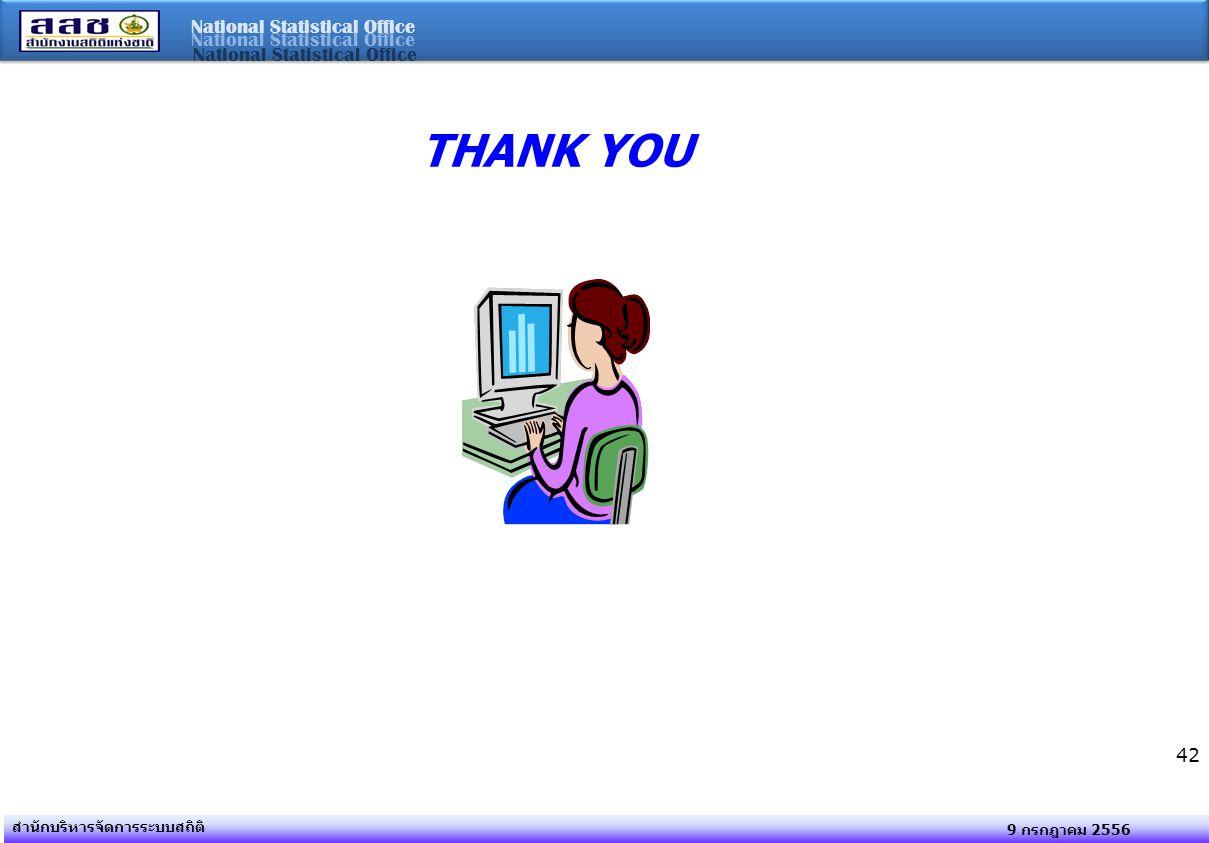 National Statistical Office 9 กรกฎาคม 2556 สำนักบริหารจัดการระบบสถิติ 42 THANK YOU