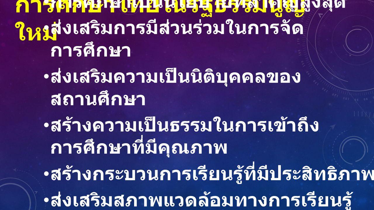 การศึกษาไทยในรัฐธรรมนูญ ใหม่ การศึกษาเป็นนโยบายที่สำคัญสูงสุด ส่งเสริมการมีส่วนร่วมในการจัด การศึกษา ส่งเสริมความเป็นนิติบุคคลของ สถานศึกษา สร้างความเ