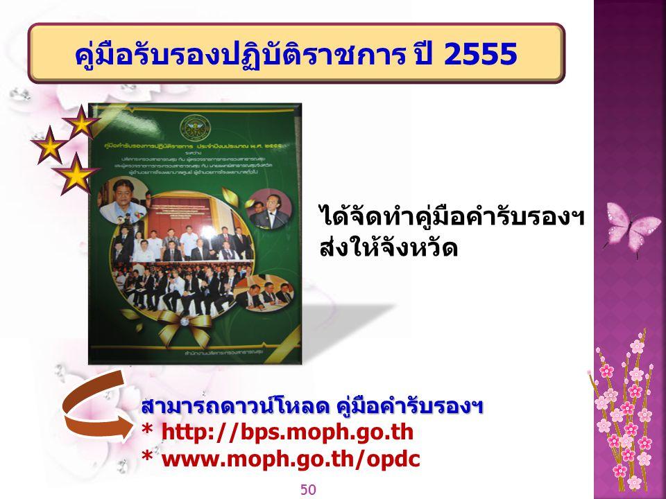 50 คู่มือรับรองปฏิบัติราชการ ปี 2555 ได้จัดทำคู่มือคำรับรองฯ ส่งให้จังหวัด สามารถดาวน์โหลด คู่มือคำรับรองฯ * http://bps.moph.go.th * www.moph.go.th/op