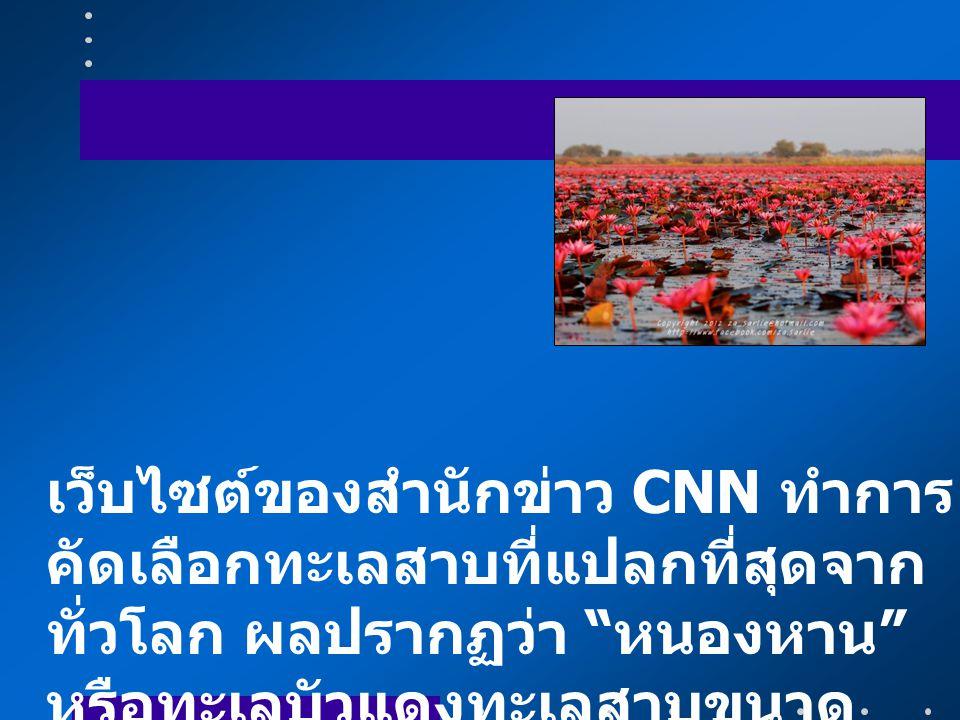 """เว็บไซต์ของสำนักข่าว CNN ทำการ คัดเลือกทะเลสาบที่แปลกที่สุดจาก ทั่วโลก ผลปรากฏว่า """" หนองหาน """" หรือทะเลบัวแดงทะเลสาบขนาด ใหญ่ที่อยู่ใน อ. กุมภวาปี จ. อ"""