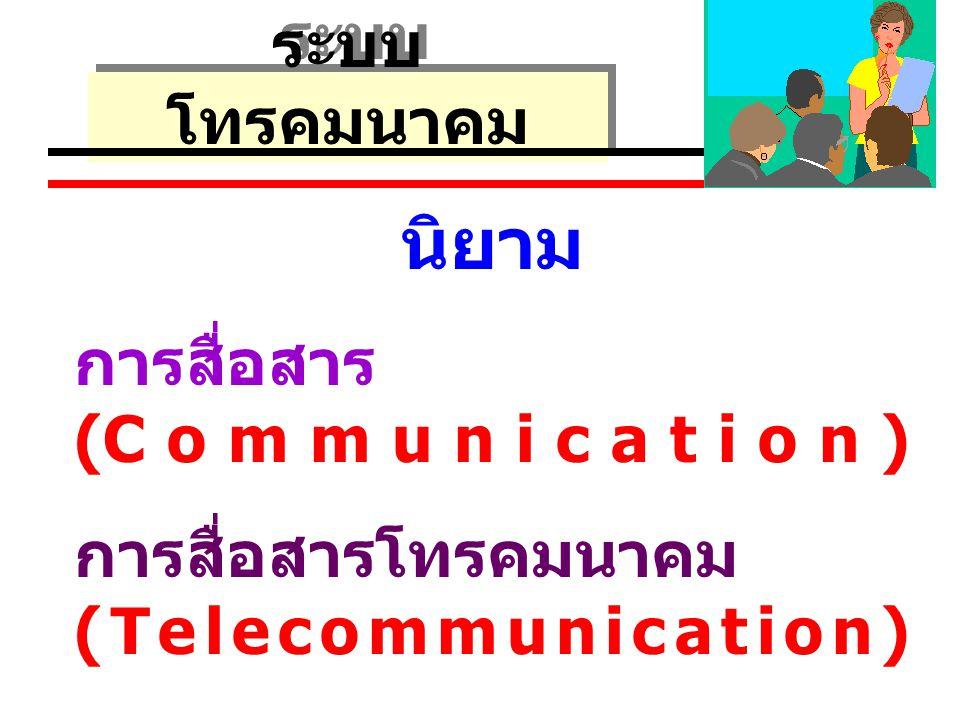บทที่ 1 ความรู้ ทั่วไปเกี่ยวกับ ระบบ โทรคมนาคม นิยาม การสื่อสาร (Communication) การสื่อสารโทรคมนาคม (Telecommunication)