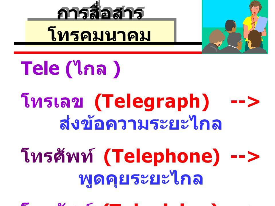 การสื่อสาร โทรคมนาคม Tele ( ไกล ) โทรเลข (Telegraph) --> ส่งข้อความระยะไกล โทรศัพท์ (Telephone) --> พูดคุยระยะไกล โทรทัศน์ (Television) --> การมองเห็นระยะไกล
