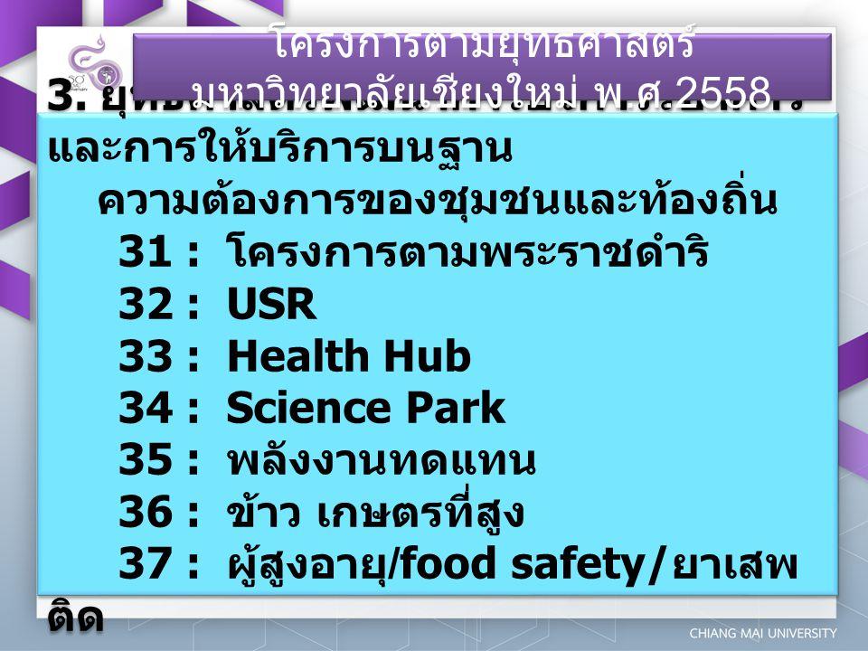 3. ยุทธศาสตร์พัฒนาการบริการวิชาการ และการให้บริการบนฐาน ความต้องการของชุมชนและท้องถิ่น 31 : โครงการตามพระราชดำริ 32 : USR 33 : Health Hub 34 : Science