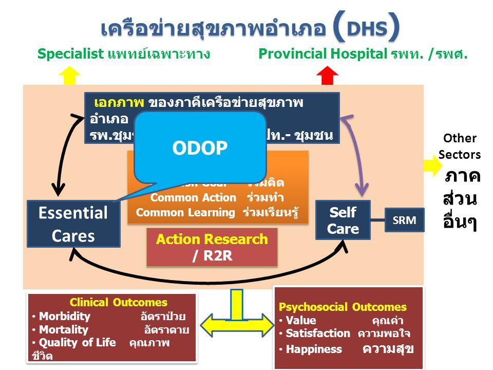 ร่วม เอกภาพ ของภาคีเครือข่ายสุขภาพ อำเภอ รพ.ชุมชน - สสอ.-รพ.สต.-อปท.- ชุมชน Essential Cares Self Care Clinical Outcomes Morbidity อัตราป่วย Mortality