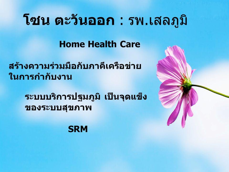 โซน ตะวันออก : รพ.เสลภูมิ Home Health Care สร้างความร่วมมือกับภาคีเครือข่าย ในการกำกับงาน ระบบบริการปฐมภูมิ เป็นจุดแข็ง ของระบบสุขภาพ SRM