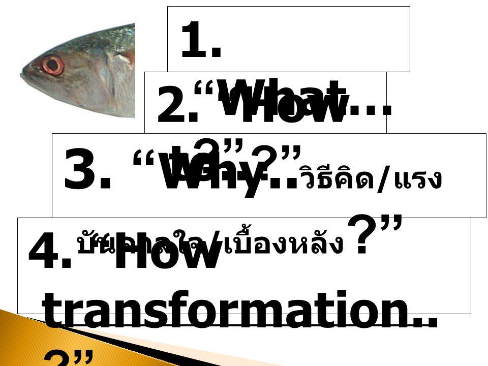 "1. ""What… ?"" 2. ""How to..?"" 3. "" Why.. วิธีคิด / แรง บันดาลใจ / เบื้องหลัง ?"" 4. ""How transformation.. ?"" ผลที่เกิดขึ้น / การเปลี่ยนแปลง"