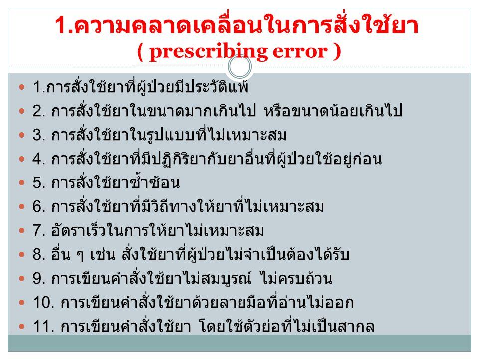 2.ความคลาดเคลื่อนในการคัดลอกคำสั่งใช้ยา ( transcribing error ) 1.