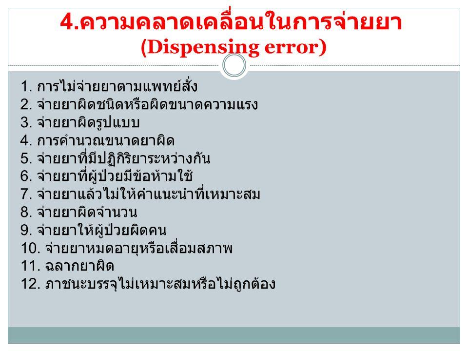 5.ความคลาดเคลื่อนในการให้หรือบริหาร ยา ( administration error ) 1.