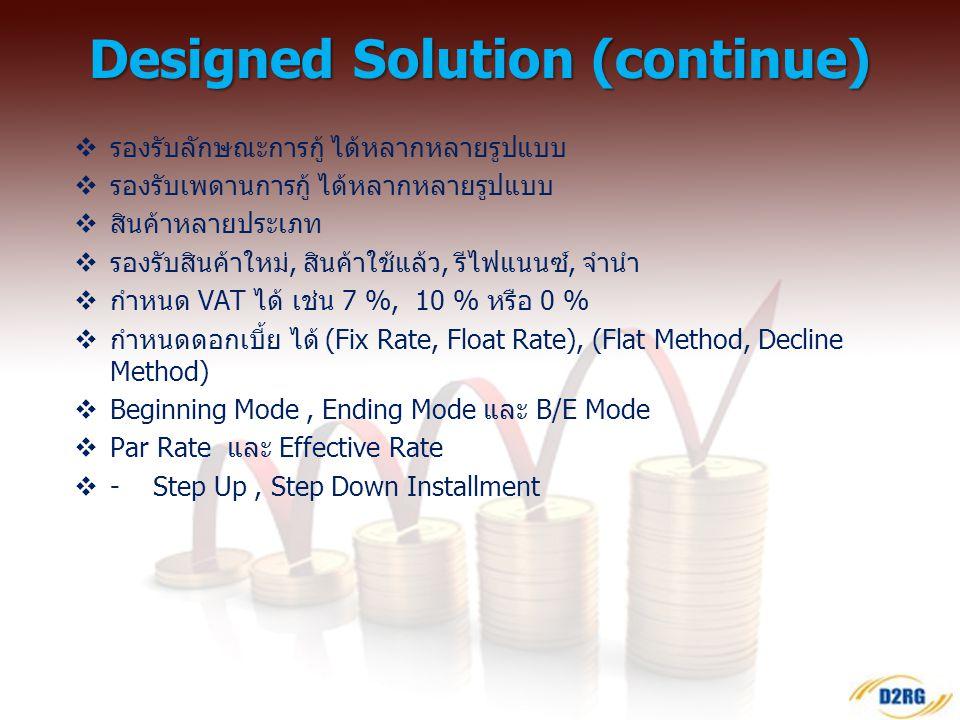  ครอบคลุมการปฏิบัติงานของธุรกิจการเงินครบวงจร  Multi Loan Type /Multi Branch/ Multi Products /Multi Type  Web Base Application  Support Mobile /Ta