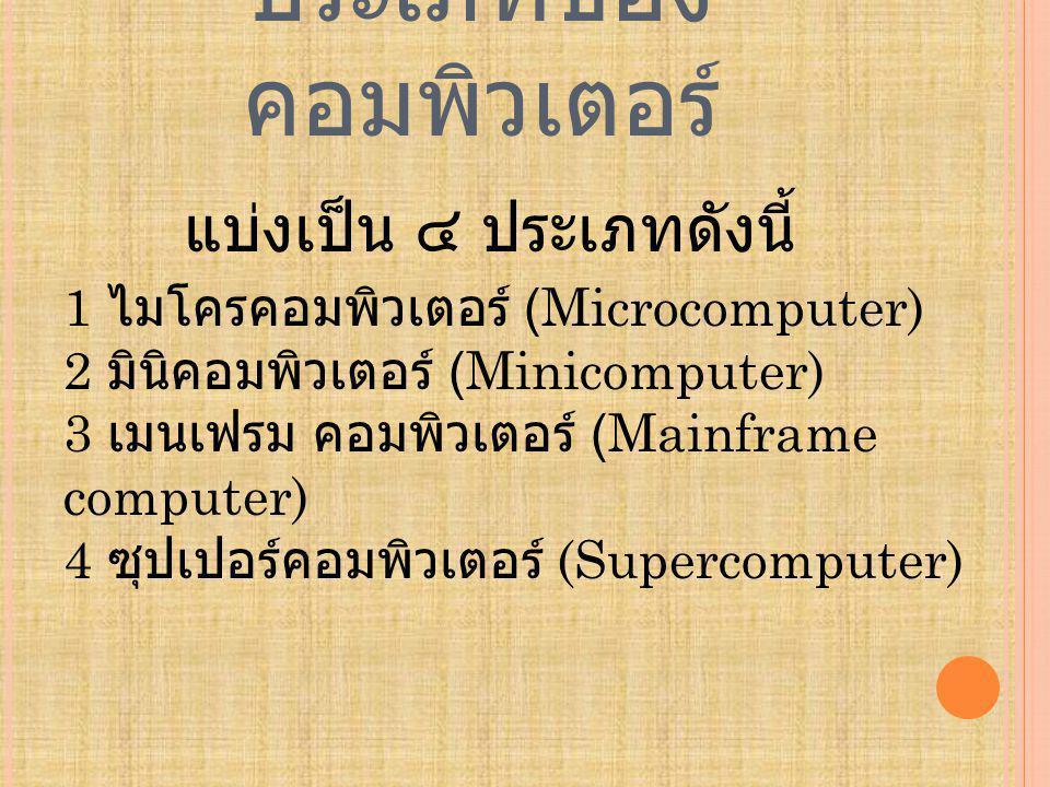 ประเภทของ คอมพิวเตอร์ แบ่งเป็น ๔ ประเภทดังนี้ 1 ไมโครคอมพิวเตอร์ (Microcomputer) 2 มินิคอมพิวเตอร์ (Minicomputer) 3 เมนเฟรม คอมพิวเตอร์ (Mainframe computer) 4 ซุปเปอร์คอมพิวเตอร์ (Supercomputer)