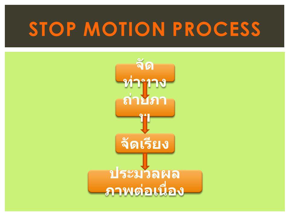 STOP MOTION PROCESS จัด ท่าทาง ถ่ายภา พ จัดเรียง ประมวลผล ภาพต่อเนื่อง