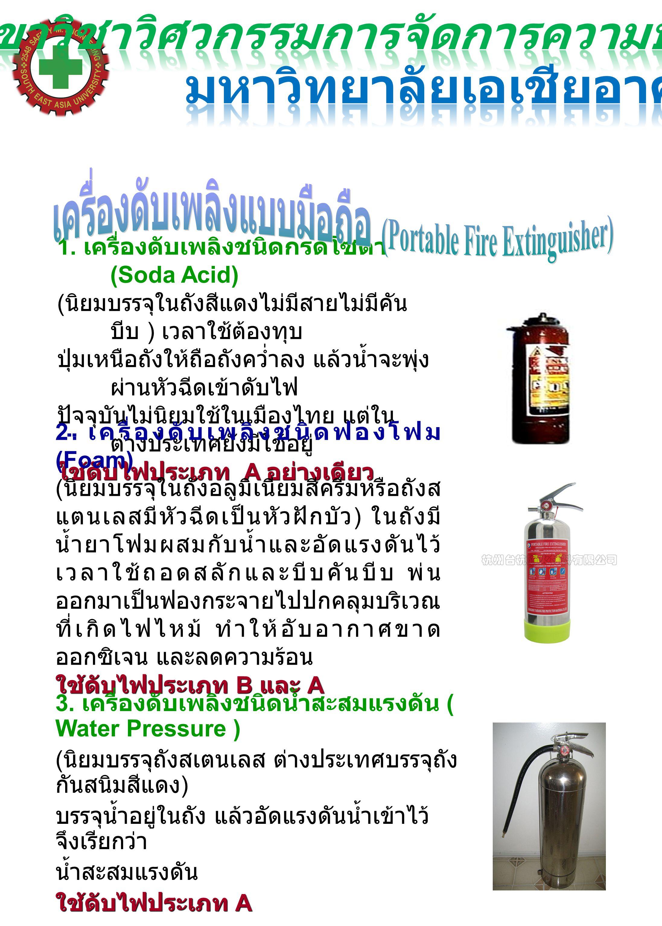 1. เครื่องดับเพลิงชนิดกรดโซดา (Soda Acid) ( นิยมบรรจุในถังสีแดงไม่มีสายไม่มีคัน บีบ ) เวลาใช้ต้องทุบ ปุ่มเหนือถังให้ถือถังคว่ำลง แล้วน้ำจะพุ่ง ผ่านหัว