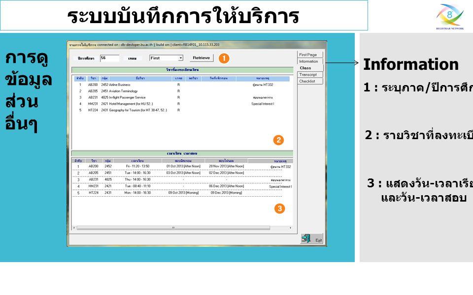 ระบบบันทึกการให้บริการ 1 : ระบุภาค / ปีการศึกษา 2 : รายวิชาที่ลงทะเบียนเรียน Information 3 : แสดงวัน - เวลาเรียน และวัน - เวลาสอบ การดู ข้อมูล ส่วน อื