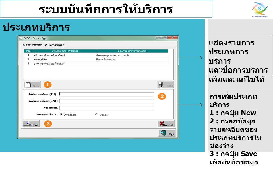 ระบบบันทึกการให้บริการ แสดงรายการ ประเภทการ บริการ และชื่อการบริการ เพิ่มและแก้ไขได้ ประเภทบริการ การเพิ่มประเภท บริการ 1 : กดปุ่ม New 2 : กรอกข้อมูล