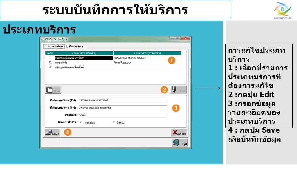 ระบบบันทึกการให้บริการ ประเภทบริการ การแก้ไขประเภท บริการ 1 : เลือกที่รายการ ประเภทบริการที่ ต้องการแก้ไข 2 : กดปุ่ม Edit 3 : กรอกข้อมูล รายละเอียดของ