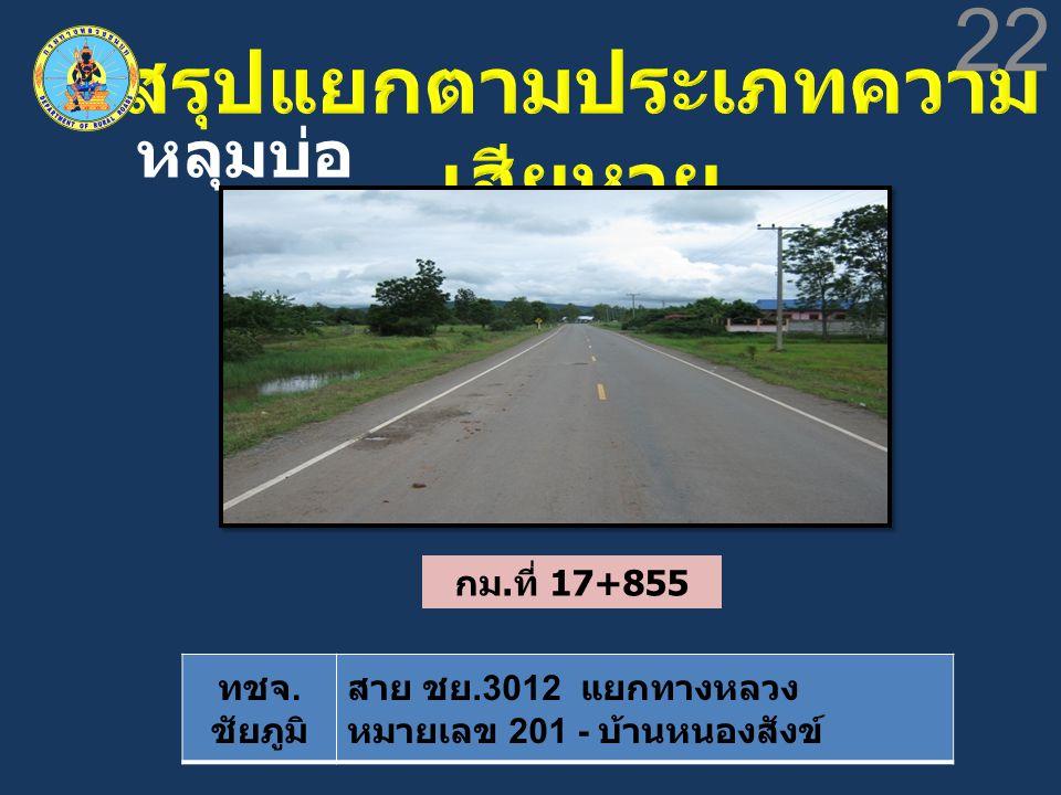 ทชจ. ชัยภูมิ สาย ชย.3012 แยกทางหลวง หมายเลข 201 - บ้านหนองสังข์ 22 หลุมบ่อ กม. ที่ 17+855
