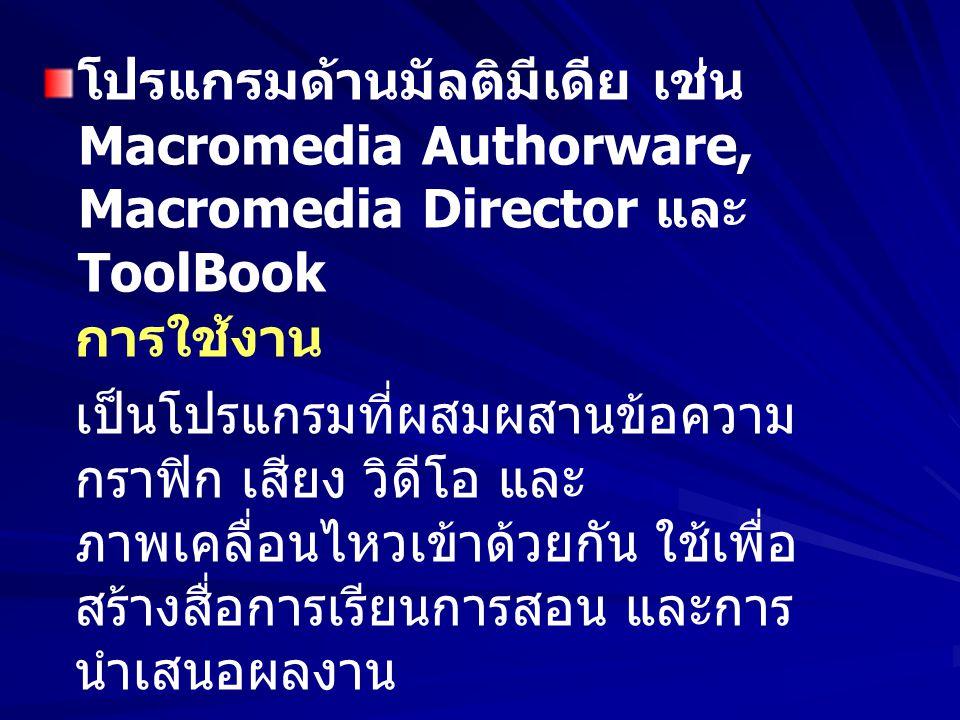 โปรแกรมด้านมัลติมีเดีย เช่น Macromedia Authorware, Macromedia Director และ ToolBook การใช้งาน เป็นโปรแกรมที่ผสมผสานข้อความ กราฟิก เสียง วิดีโอ และ ภาพ