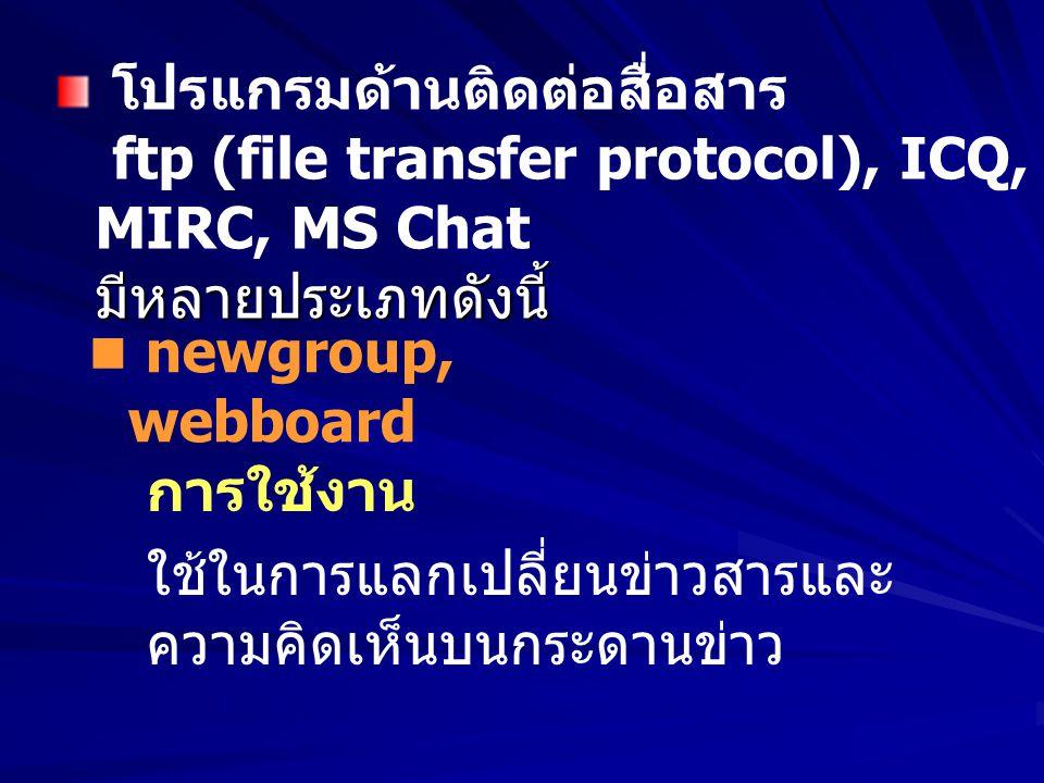 การใช้งาน ใช้ในการแลกเปลี่ยนข่าวสารและ ความคิดเห็นบนกระดานข่าว มีหลายประเภทดังนี้ โปรแกรมด้านติดต่อสื่อสาร ftp (file transfer protocol), ICQ, MIRC, MS
