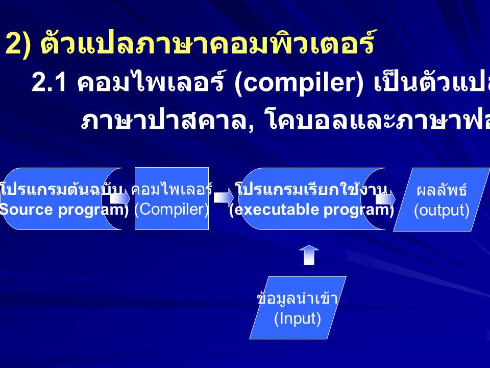 2) ตัวแปลภาษาคอมพิวเตอร์ 2.1 คอมไพเลอร์ (compiler) เป็นตัวแปลภาษาระดับสูง เช่น ภาษาปาสคาล, โคบอลและภาษาฟอร์แทรนให้เป็นภาษาเครื่อง โปรแกรมต้นฉบับ (Sour