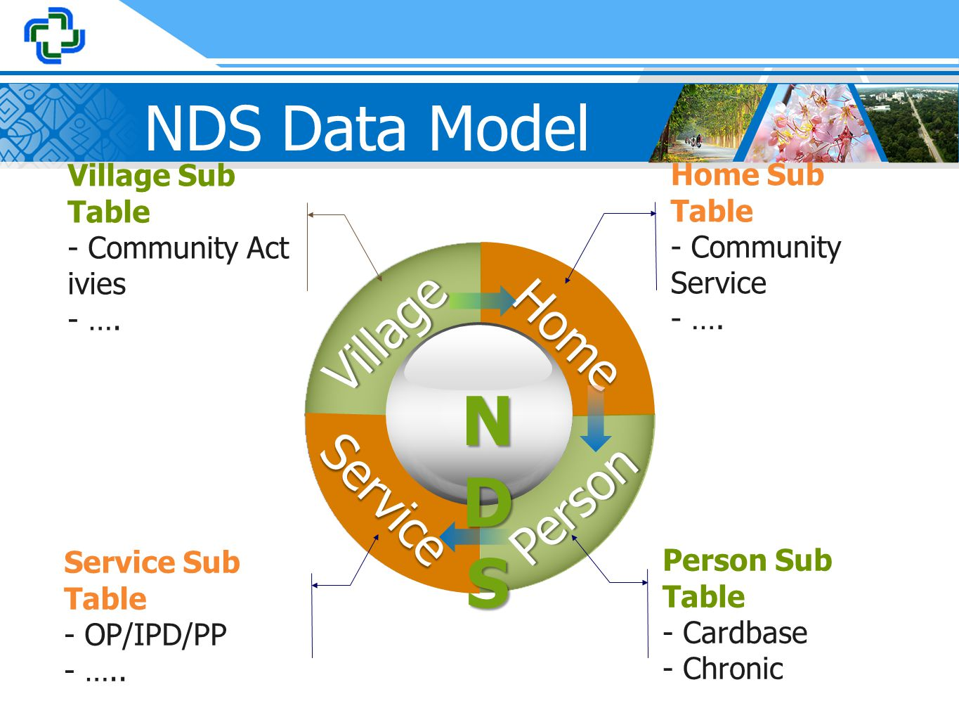 NDS Data Model Village Home Service Person NDSNDSNDSNDS Home Sub Table - Community Service - …. Person Sub Table - Cardbase - Chronic Village Sub Tabl