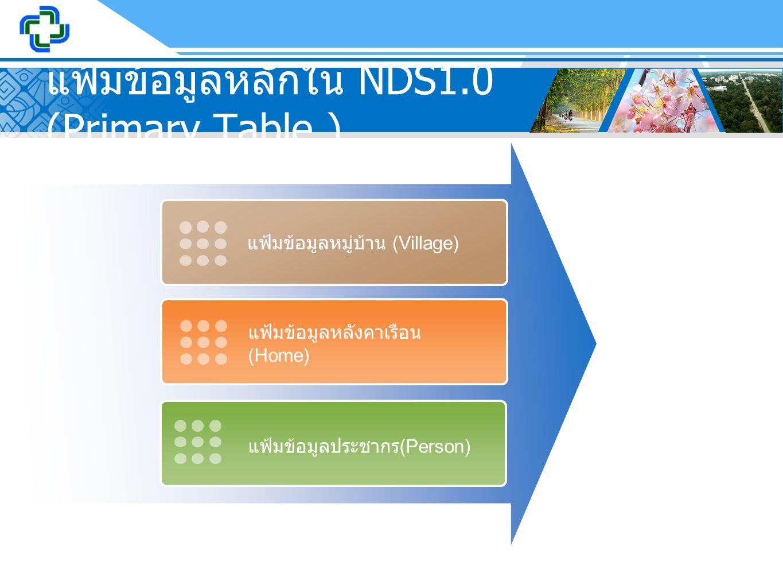 แฟ้มข้อมูลหลักใน NDS1.0 (Primary Table ) แฟ้มข้อมูลหมู่บ้าน (Village) แฟ้มข้อมูลหลังคาเรือน (Home) แฟ้มข้อมูลประชากร (Person)