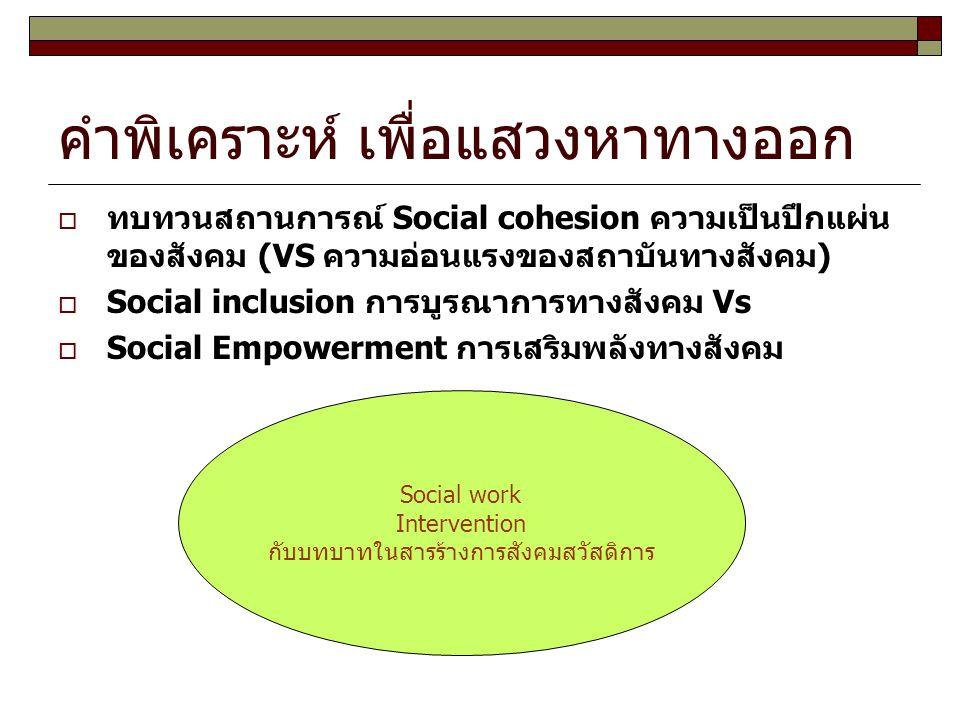คำพิเคราะห์ เพื่อแสวงหาทางออก  ทบทวนสถานการณ์ Social cohesion ความเป็นปึกแผ่น ของสังคม (VS ความอ่อนแรงของสถาบันทางสังคม)  Social inclusion การบูรณาก